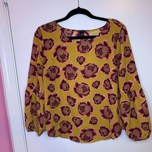 Chartreuse Blossom Lantern Sleeve Floral Blouse